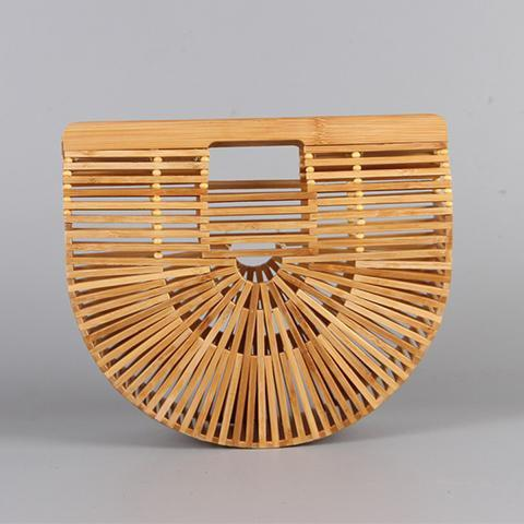 lezeda.com Shoes & Accessories Natural Big Size / One Size Bamboo Semi-Circle Bag