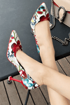 lezeda.com Shoes & Accessories White / 34 Floral Print Pointed Toe High Heels Shoes