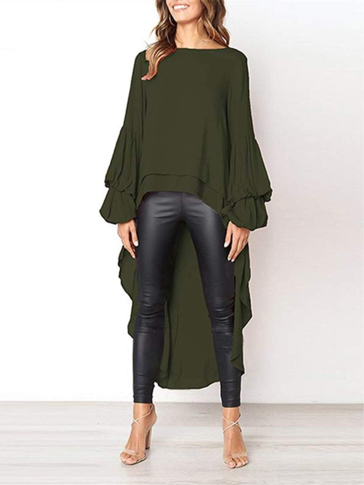 lezeda.com Tops Army Green / S Plus Size Casual Asymmetrical Ruffled Long Sleeve Solid Blouses