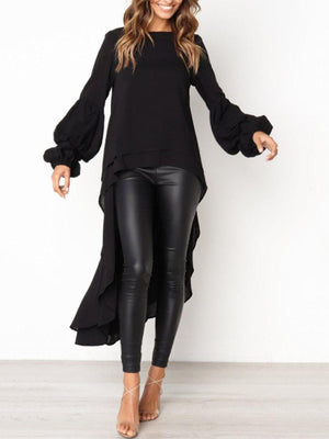 lezeda.com Tops Black / S Plus Size Casual Asymmetrical Ruffled Long Sleeve Solid Blouses