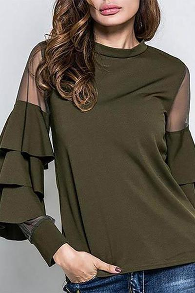 lezeda.com Tops Dark Green / M Elegant Solid Crew Neck Paneled Blouse