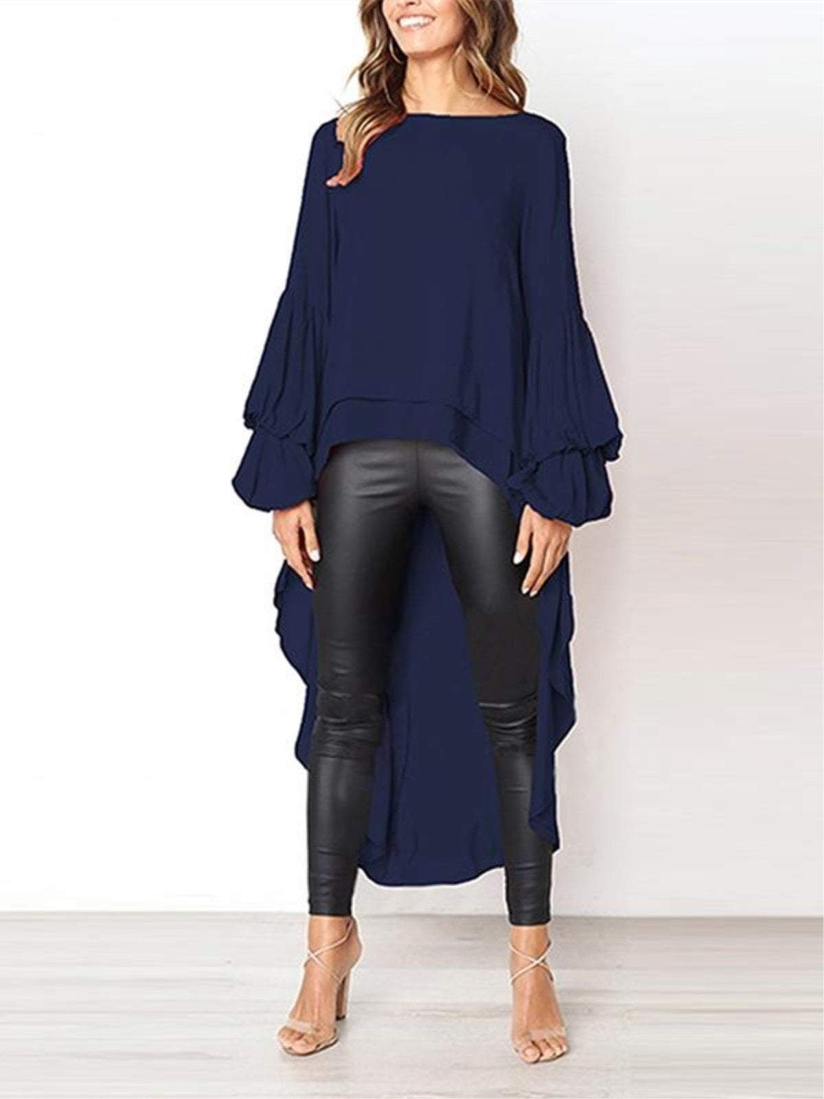 lezeda.com Tops Deep Blue / S Plus Size Casual Asymmetrical Ruffled Long Sleeve Solid Blouses