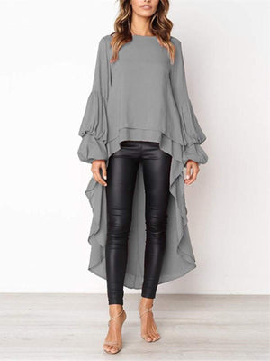 lezeda.com Tops Grey / S Plus Size Casual Asymmetrical Ruffled Long Sleeve Solid Blouses