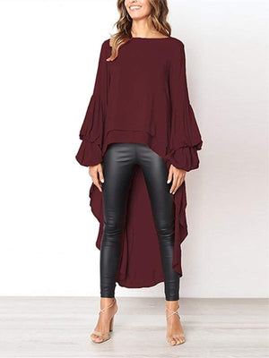 lezeda.com Tops Red / S Plus Size Casual Asymmetrical Ruffled Long Sleeve Solid Blouses