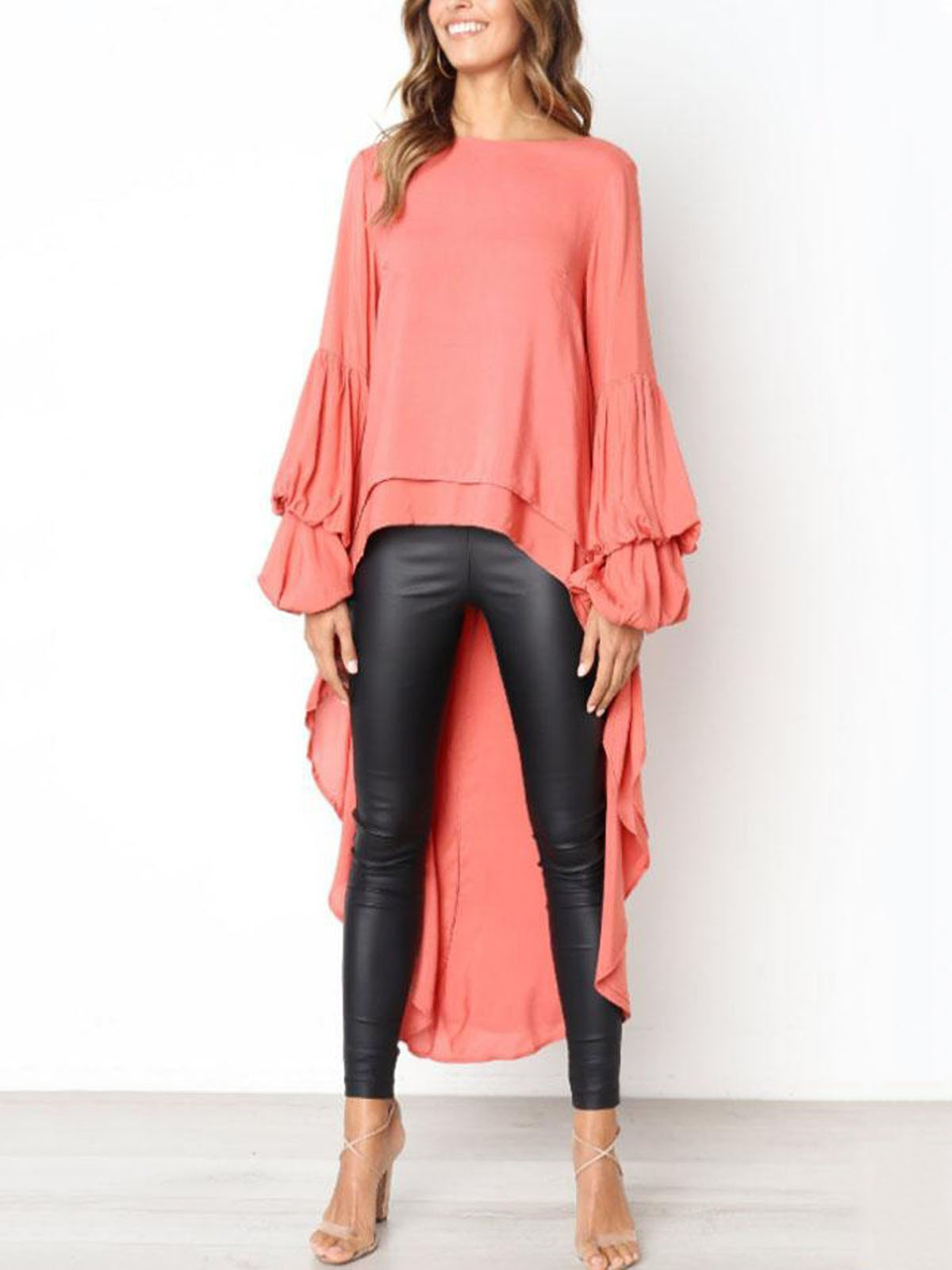 lezeda.com Tops Rose / S Plus Size Casual Asymmetrical Ruffled Long Sleeve Solid Blouses