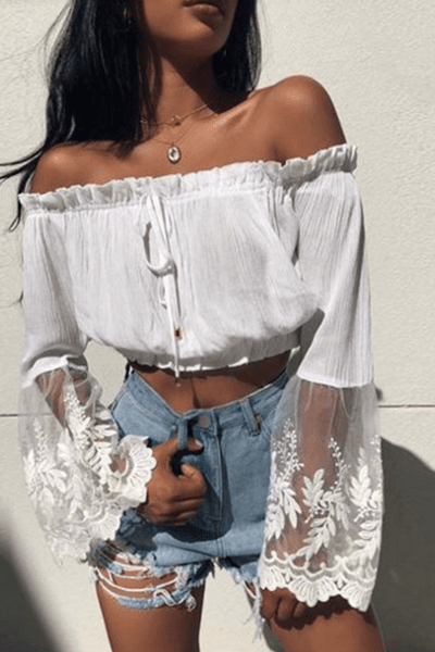 lezeda.com Tops S Off the Shoulder Floral Bell Sleeve White Crop Top