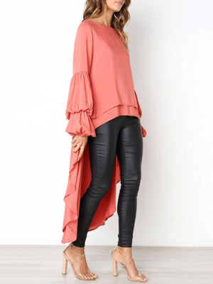 lezeda.com Tops White / S Plus Size Casual Asymmetrical Ruffled Long Sleeve Solid Blouses
