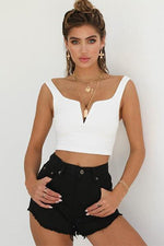 lezeda.com tops White / S Solid V neck Tank Top