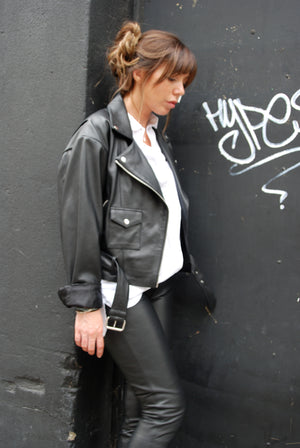 "The ""I know i'm losing you"" dropped shoulder biker jacket"
