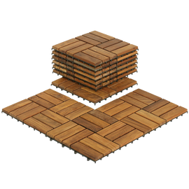 Bare Decor U-Snap Interlocking Flooring Tiles in Solid Teak Wood