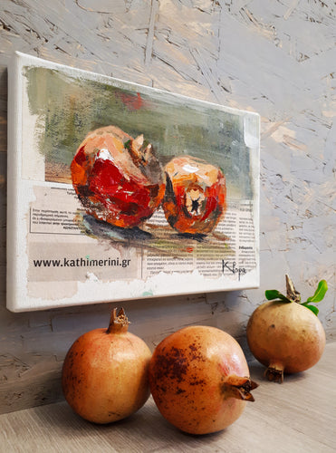 placement of pomegranates still life painting - mixed media (small)