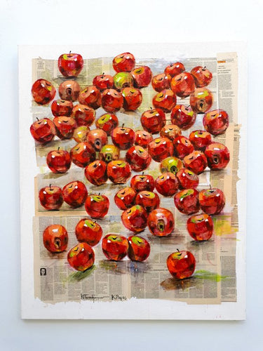 red apples still life painting - oil on newspaper