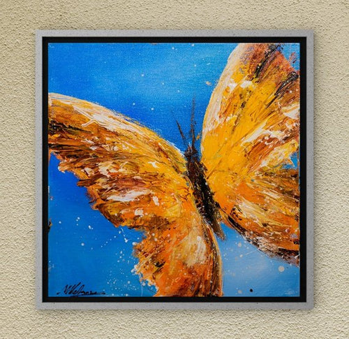 orange butterfly painting - acrylic