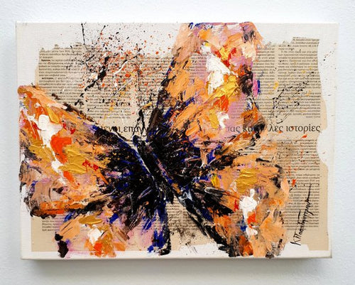 orange butterfly painting - mixed media
