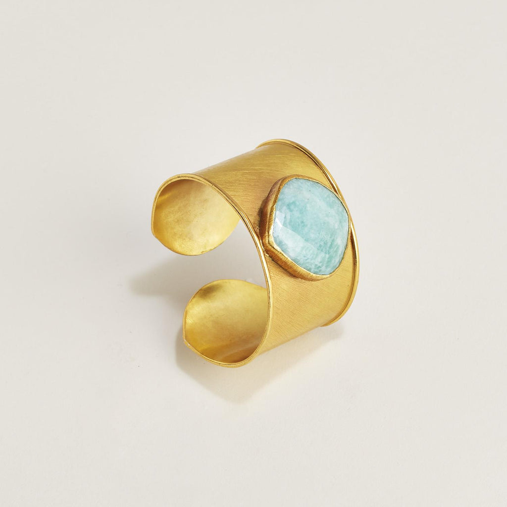 18K Gold Plated Cuff with Amazonite - Hello World