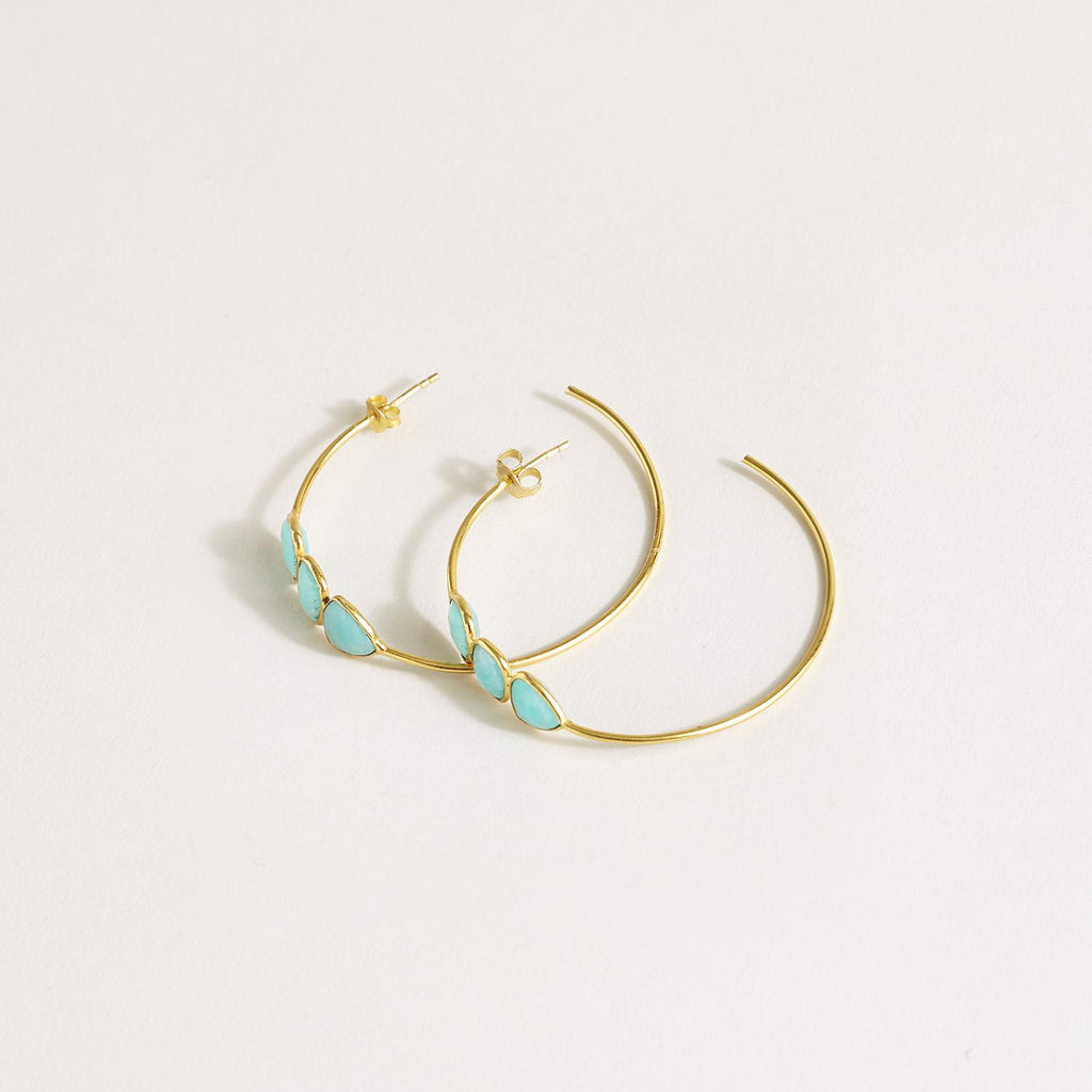 Amazonite Three Stone 18K Plated Hoop Earrings - Hello World