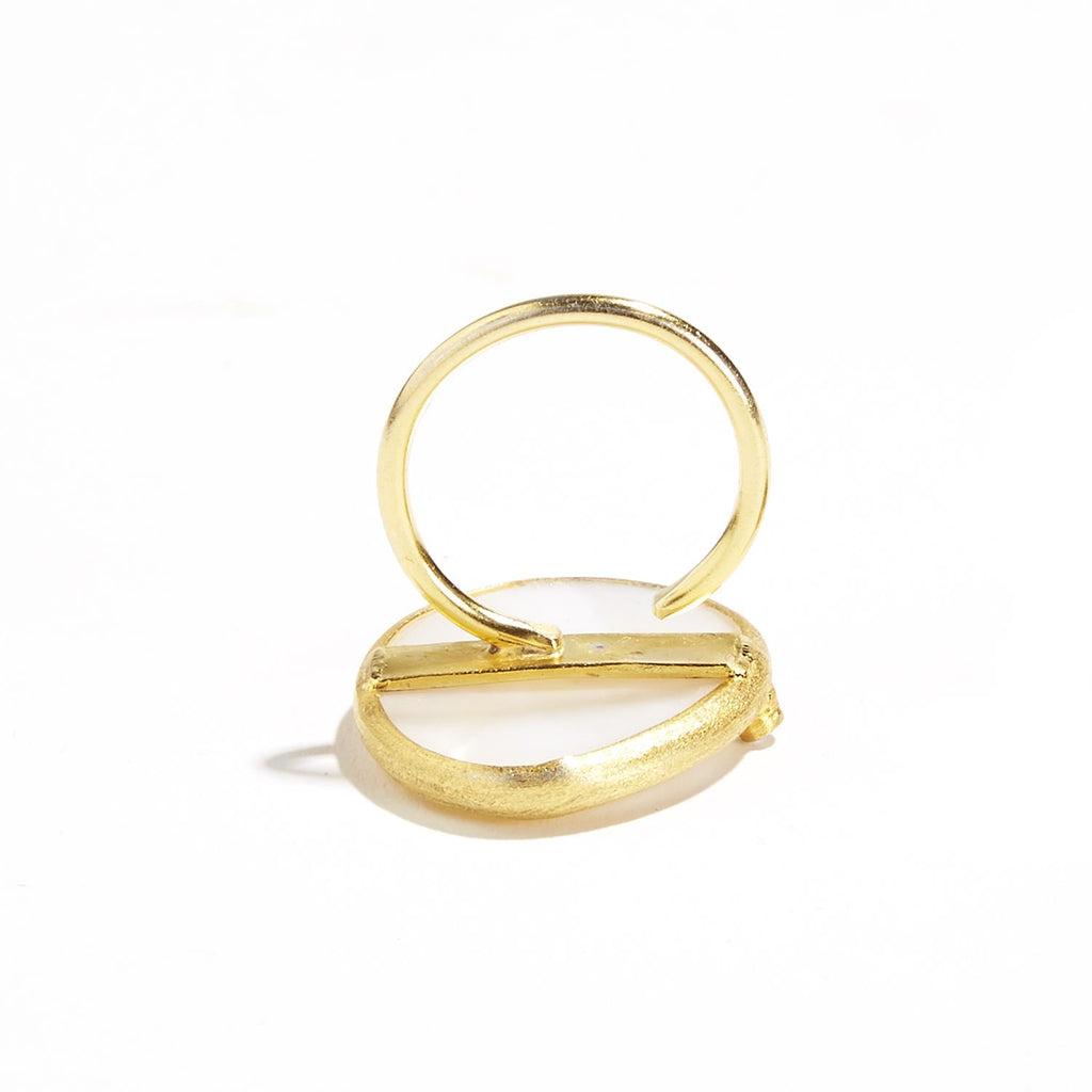 Mother of Pearl Gold Plated Adjustable Ring - Hello World