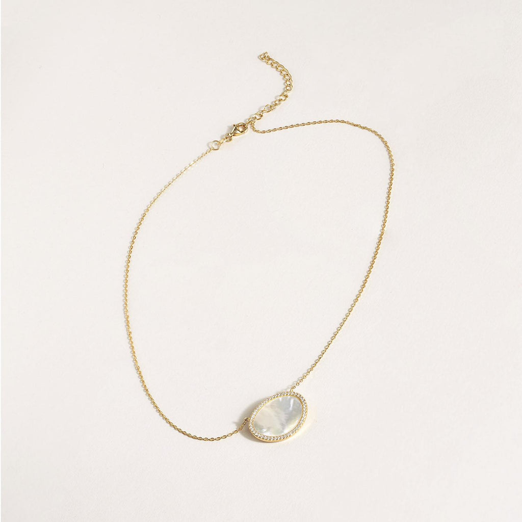 Pave Mother of Pearl 18K Gold Plated Necklace - Hello World