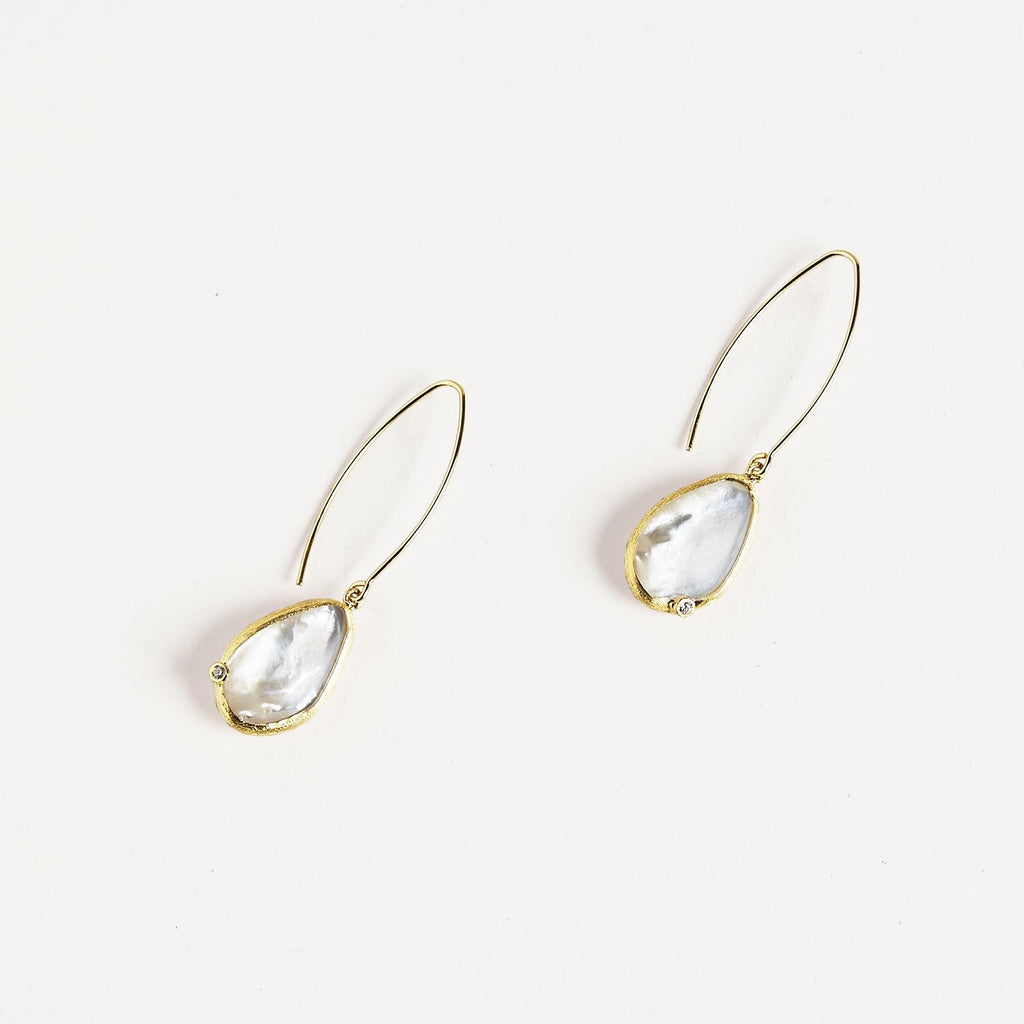 Mother of Pearl 18k Gold Plate Threader Earrings with CZ - Hello World