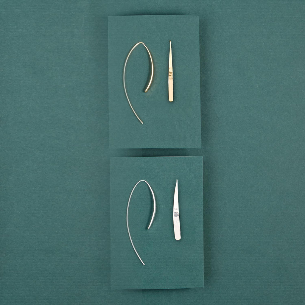 Hammered threader Earings - Hello World