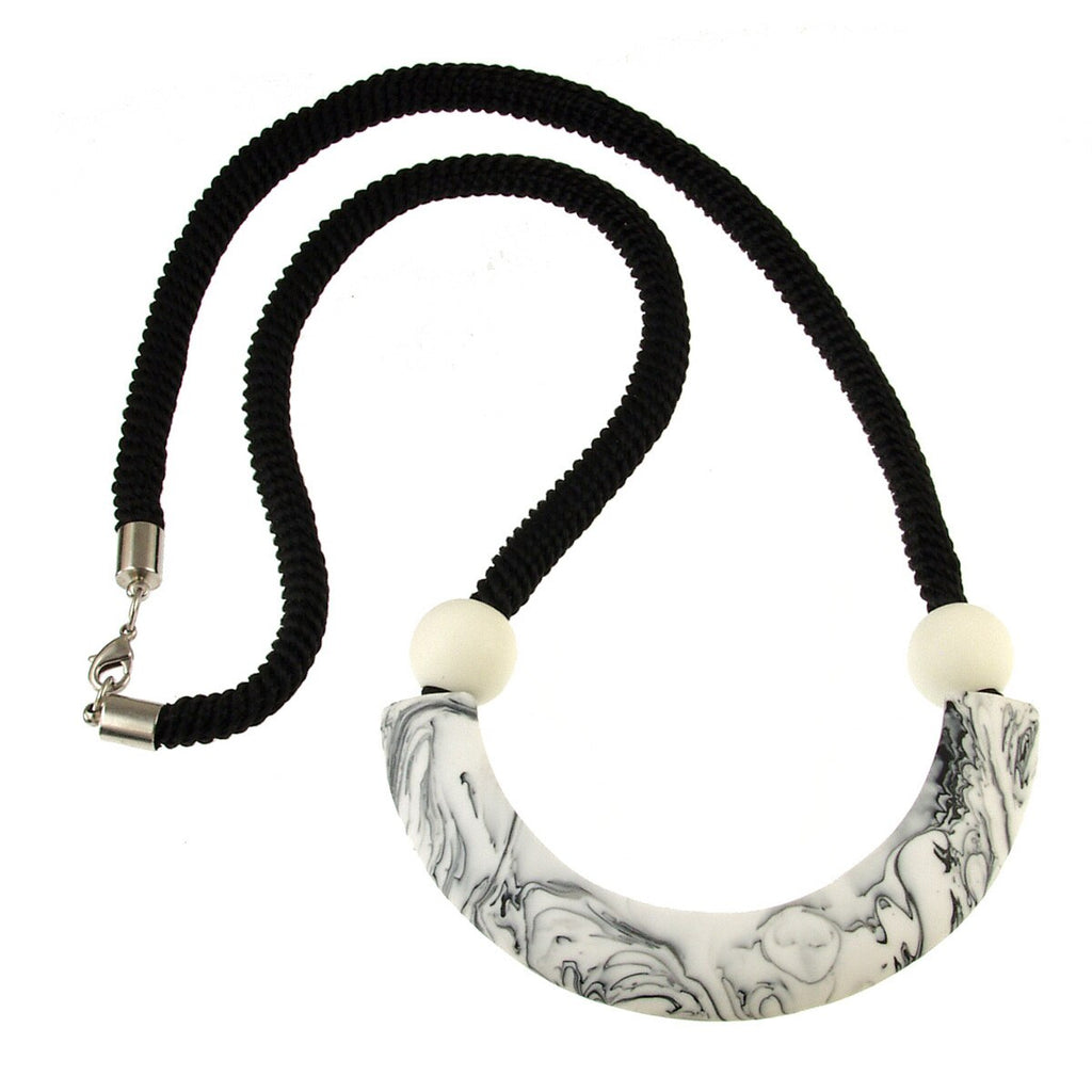 Marbled Black & White Necklace - Hello World