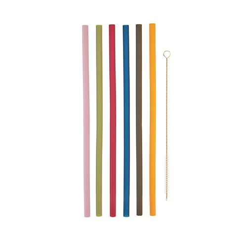 Colorful Reusable Silicone Straw Set (brush included) - Hello World
