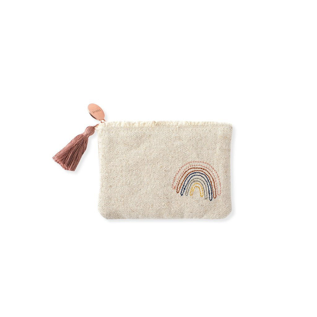 Fringed Embroidered Canvas Zipper Mini Coin Pouches - Hello World