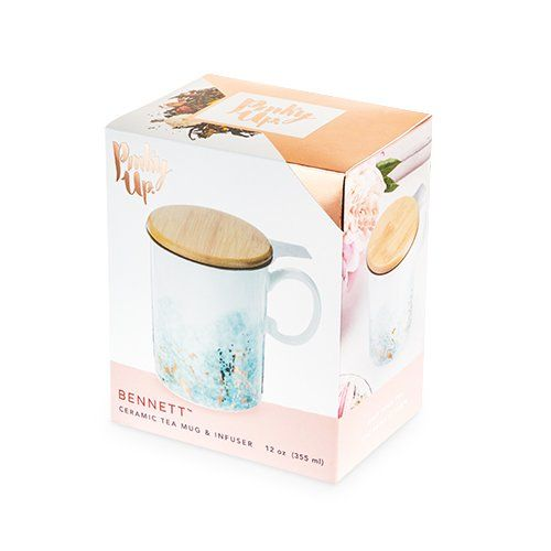 BENNET  CERAMIC TEA MUG & INFUSER - Hello World