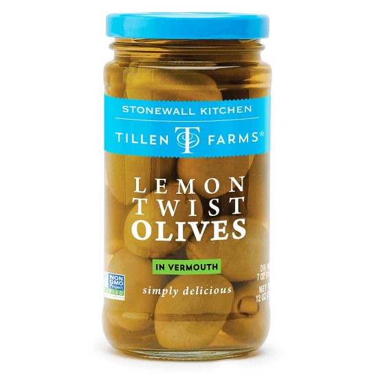 Lemon Twist Stuffed Olives - Gourmet Garnish in Vermouth - Hello World