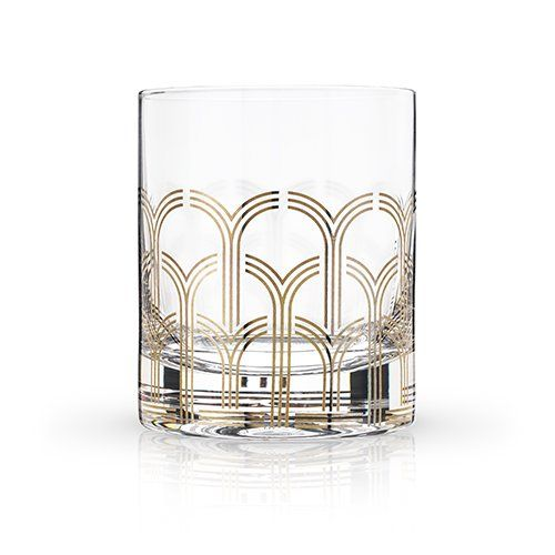 Art Deco Cocktail Glass Tumblers - Set of 2 - Hello World