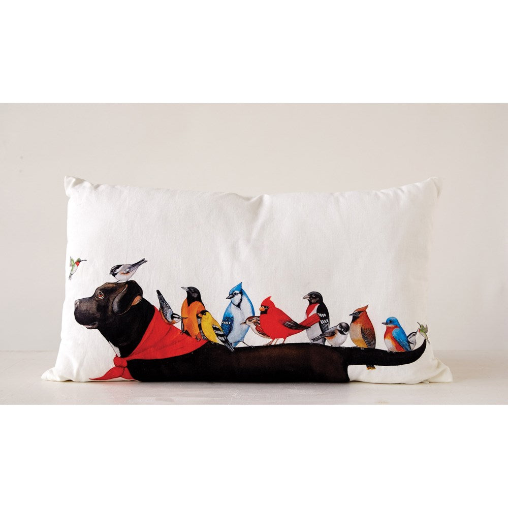 "24""L x 14""H Cotton Pillow w/ Birds on Dog - Hello World"