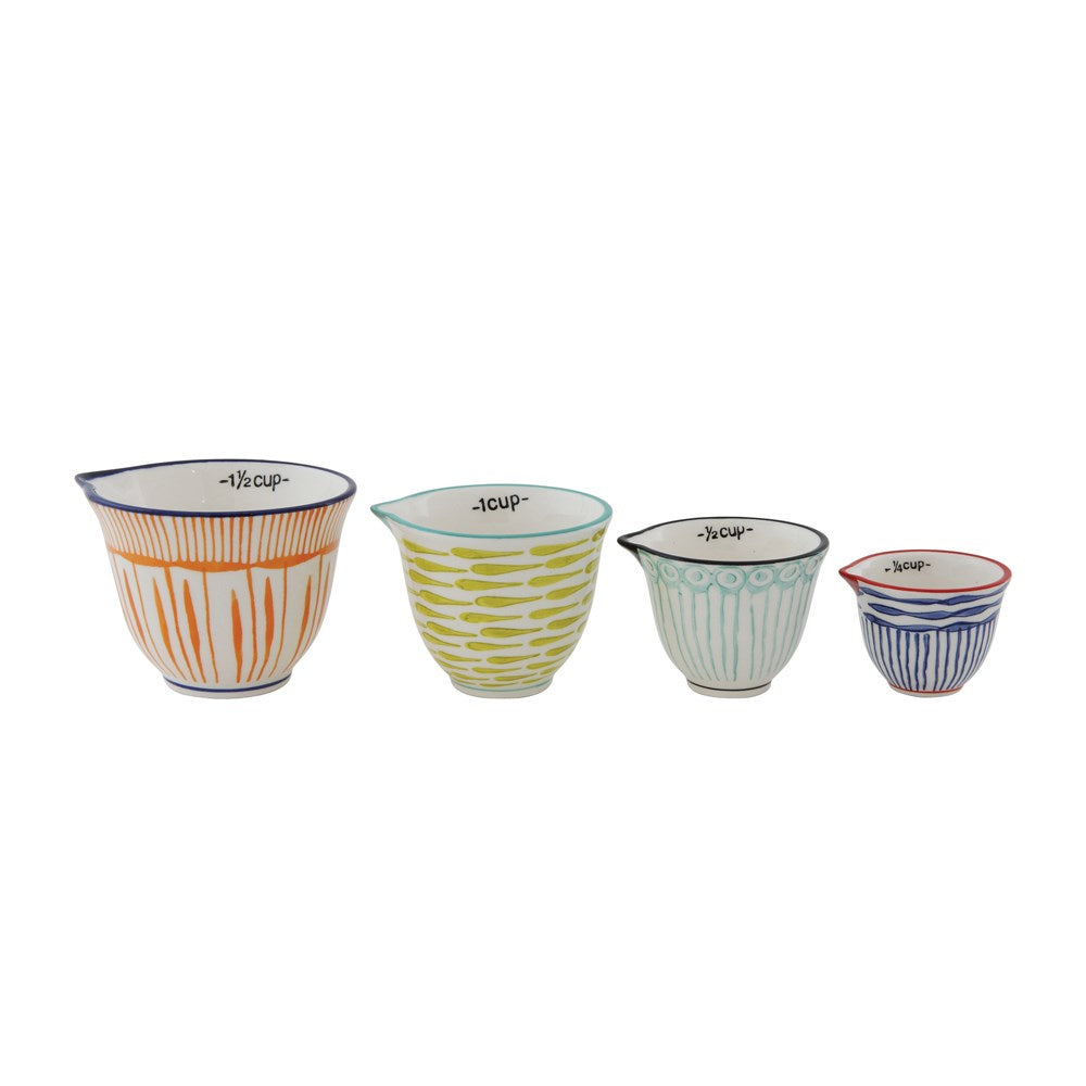 Colorful Striped Stoneware Kitchen Measuring Cups Set - Hello World