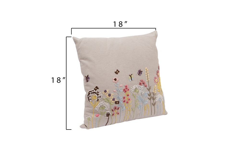 "18"" Square Cotton Pillow w/ Embroidered & French Knot Flowers - Hello World"