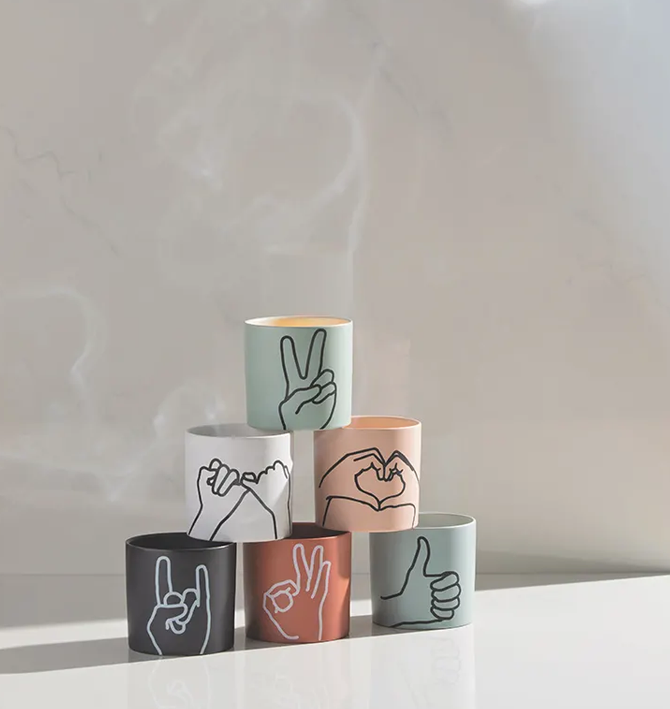 Matte Ceramic Gesture Candles - Hello World