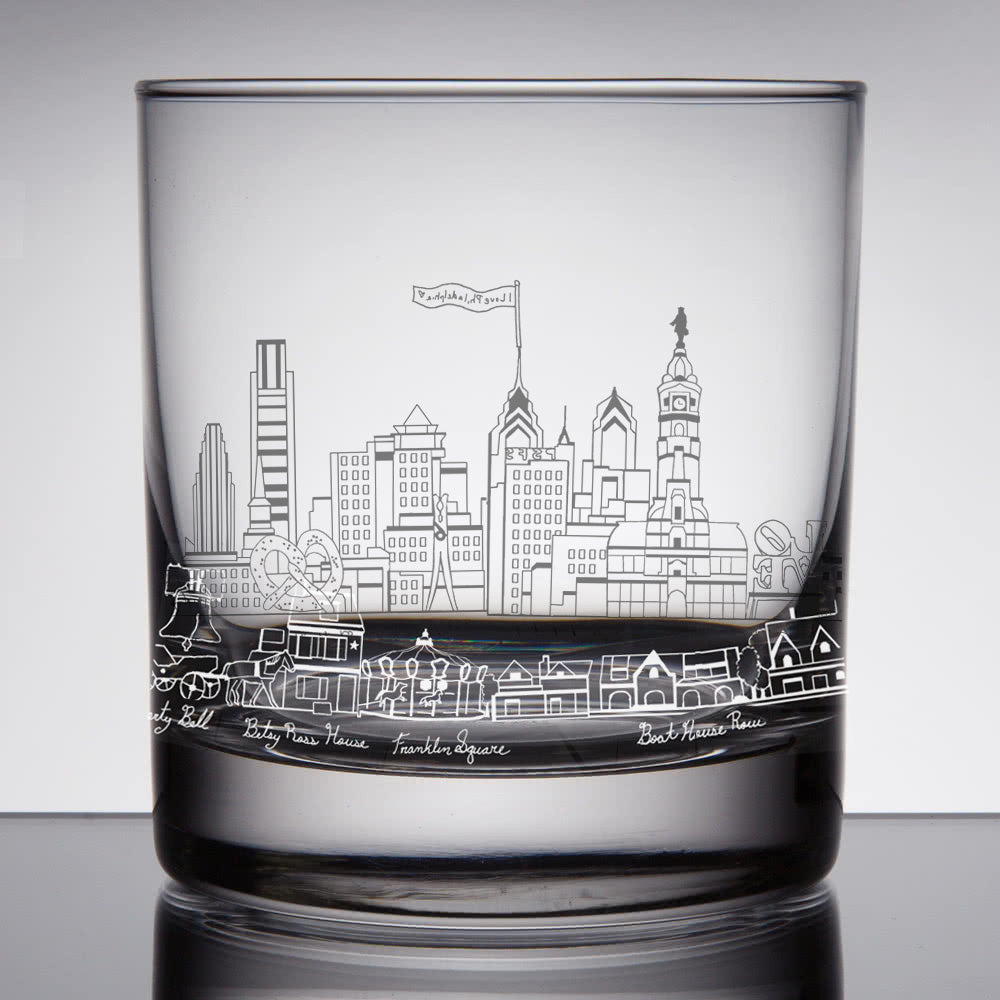 Philly Whiskey Rocks Glass - Hello World