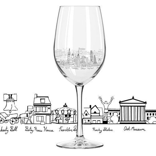 Philly Etched Wine Glass - Hello World