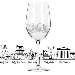 Philly Etched Wine Glass