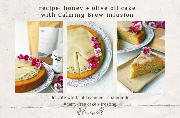 Honey + Olive Oil Cake with Calming Brew infusion {dairy-free}