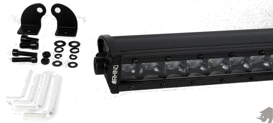 RHINO LIGHTS 6 inch to 50 inch BLACKED OUT SINGLE ROW 3D CREE LED LIGHT BAR: FLOOD BEAM