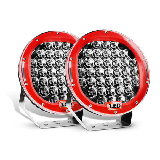 Nilight 9 Inch Round 185W Spot LED lights 2 PC (Red), 2 Year Warranty