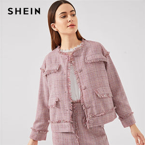 b723579849 SHEIN Pink Office Lady Frayed Edge Trim Button Up Plaid Single Breasted  Highstreet Jacket Autumn Elegant