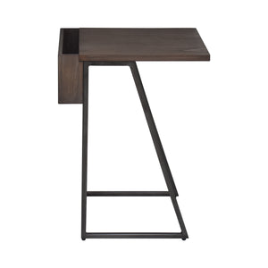 Side View of Largest Table in Arthur Grey 2-Piece Nesting Table Set