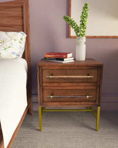 Brown Sophia 2 Drawer Nightstand Used in Beautiful Bedroom