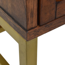 Load image into Gallery viewer, Detail of Sophia 2 Drawer Nightstand with Brass Finish of Metal Base