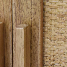 Load image into Gallery viewer, Woven Rattan Detail of Inside of Delancey 2 Door Cabinet in Light Blonde