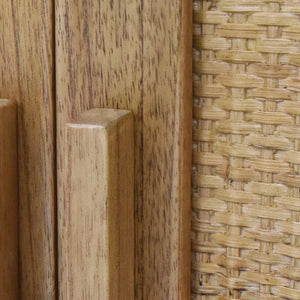 Woven Rattan Detail of Inside of Delancey 2 Door Cabinet in Light Blonde