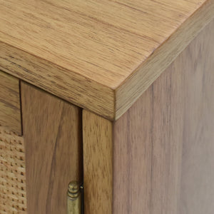 Wood Detail of Delancey 2 Door Cabinet in Light Blonde