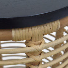 Load image into Gallery viewer, Detail Photo of Wood Finish and Rattan Weave from Perry 2 Piece Nested Table Set