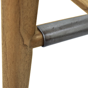 Wood and Metal Details of Hopper Saddle Stool