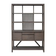 Load image into Gallery viewer, Front View of Hopper Bookcase Hutch in Canti Grey Finish